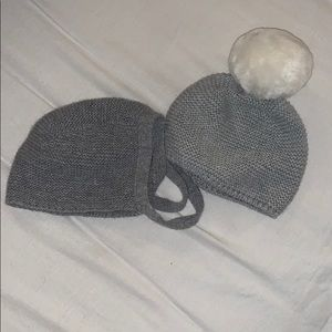 Baby knit bonnet and pom pom hat